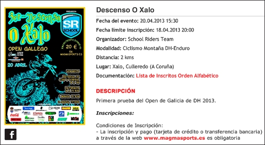 Cartel Descenso O Xalo 2013